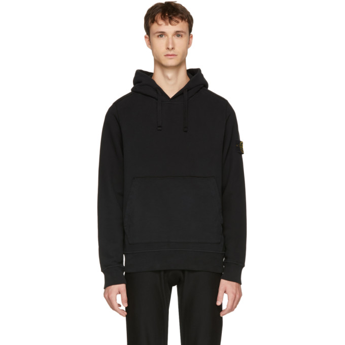 Image of Stone Island Black Arm Badge Logo Hoodie
