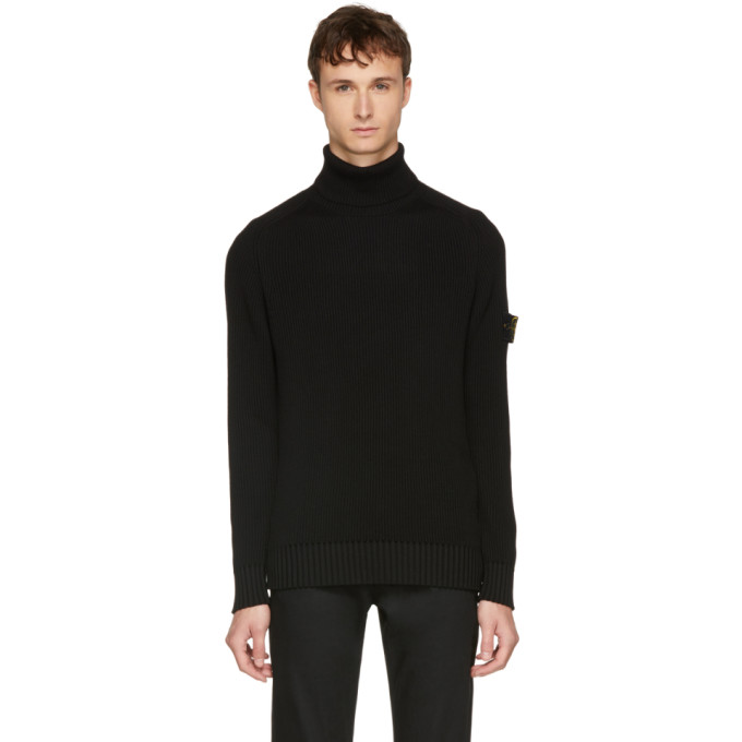 Image of Stone Island Black Arm Badge Turtleneck