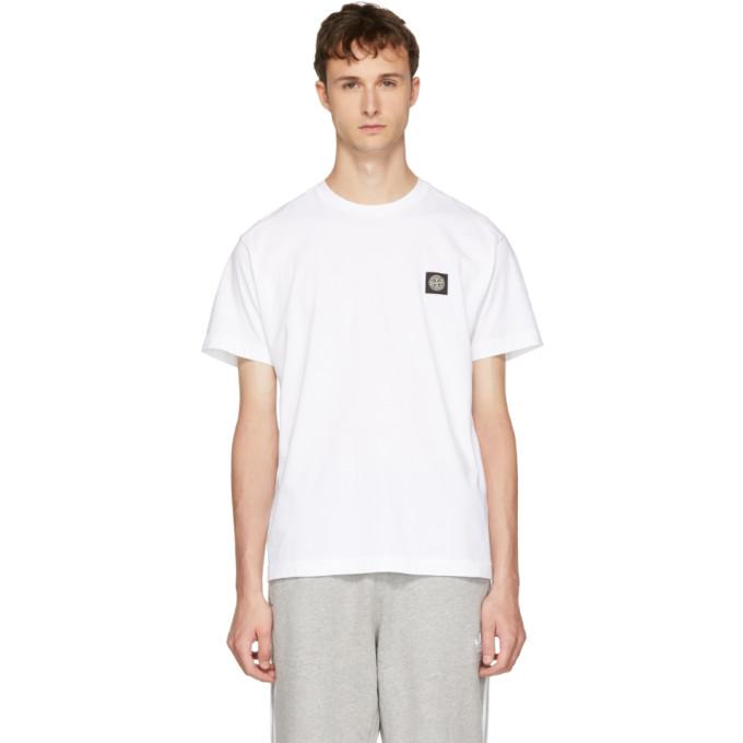 Stone Island ホワイト ロゴ パッチ T シャツ