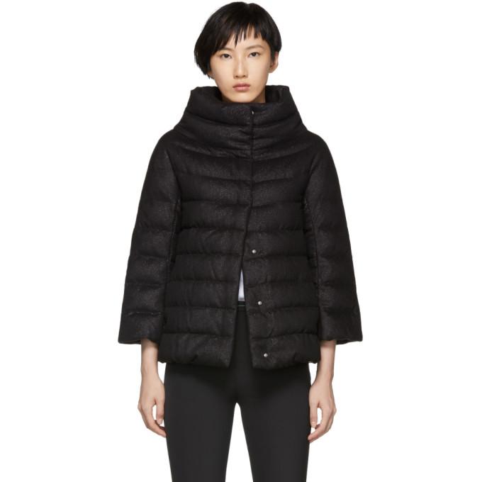 Image of Herno Black Down Cashmere & Silk Lurex Three-Quarter Sleeve Jacket