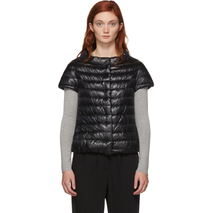 Image of Herno Black Classic Cap Sleeve Down Jacket