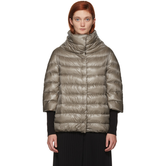 Image of Herno Beige Classic Three-Quarter Sleeve Down Jacket