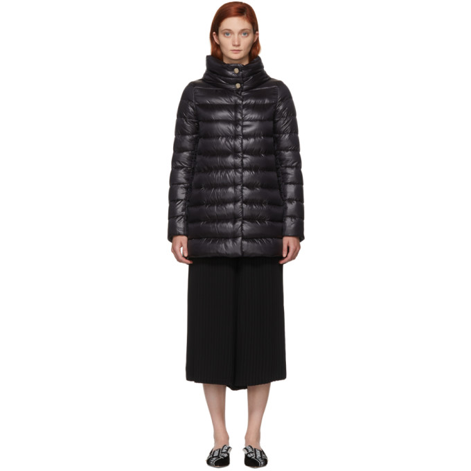 Image of Herno Black Classic High-Low A-Line Nylon Down Coat