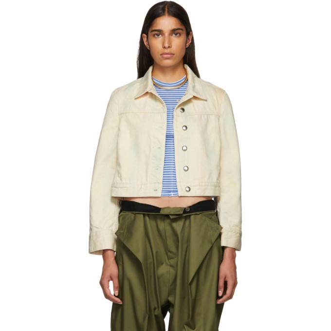 Image of Eckhaus Latta Beige Cropped Denim Jacket