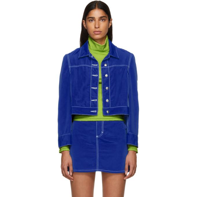 Image of Eckhaus Latta Blue Cropped Jacket