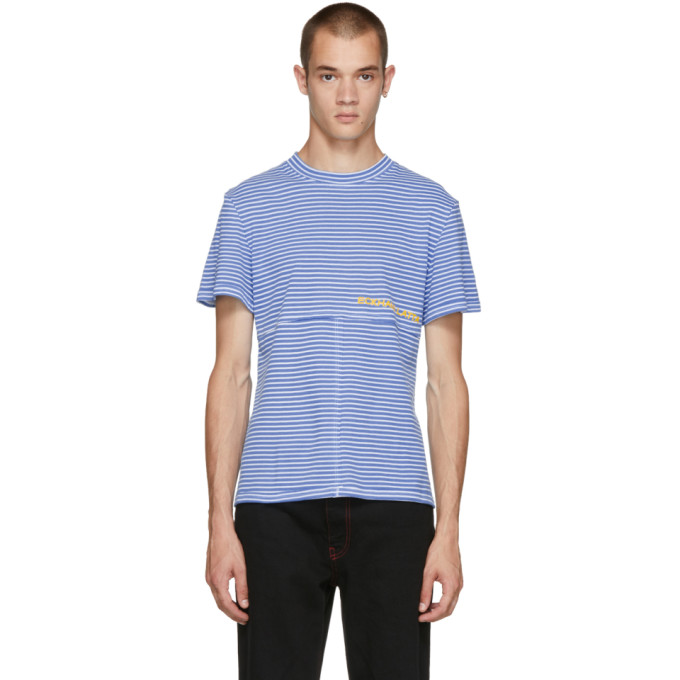 ECKHAUS LATTA Eckhaus Latta Ssense Exclusive Blue Stripe T-Shirt in Bluestripe