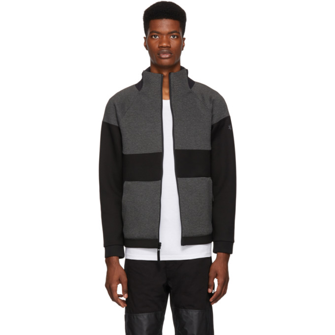 ISAORA Isaora Reversible Grey And Black Panel Zip-Up Jacket in Blk/Charcoa