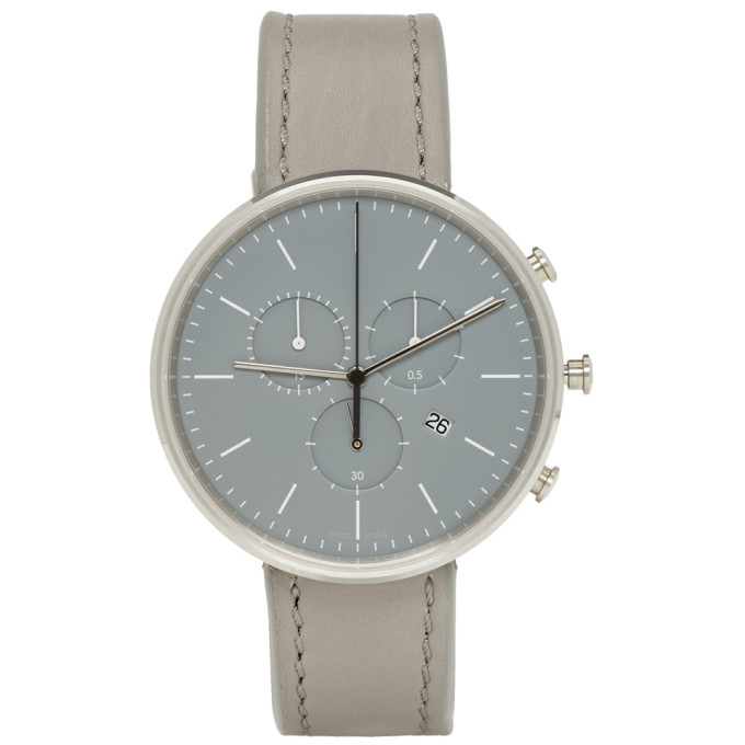 Image of Uniform Wares SSENSE Exclusive Grey Leather M40 Chronograph Watch