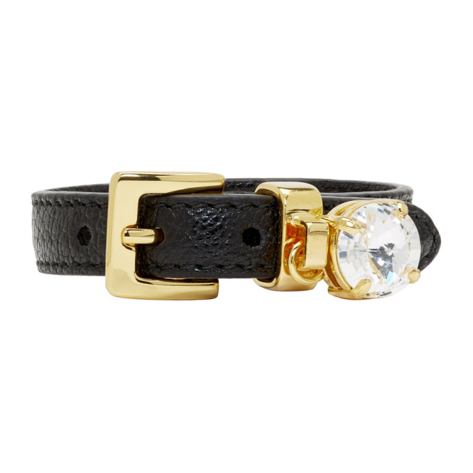 Miu Miu Black Leather Crystal Bracelet
