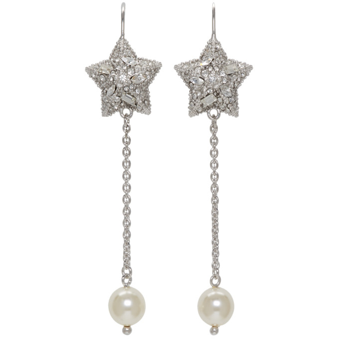 Miu Miu Silver Pearl & Crystal Star Long Earrings
