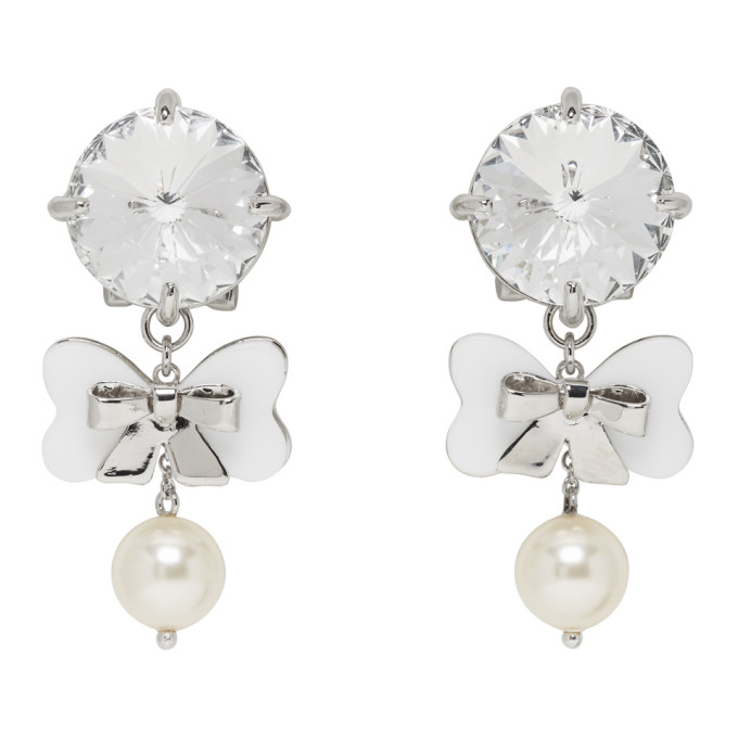 Miu Miu Crystal & Pearl Drop Earrings