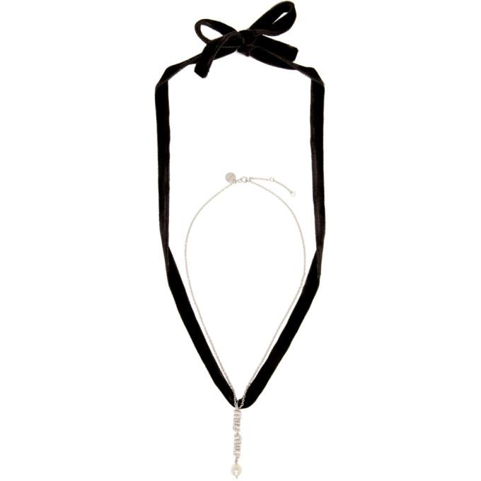 Miu Miu Silver & Black Choker Necklace