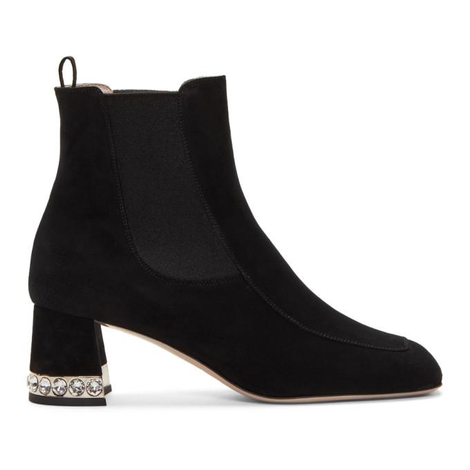 Miu Miu Black Suede Crystal Ankle Boots