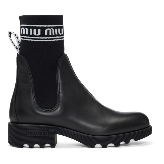 Miu Miu Black Leather & Sock Boots