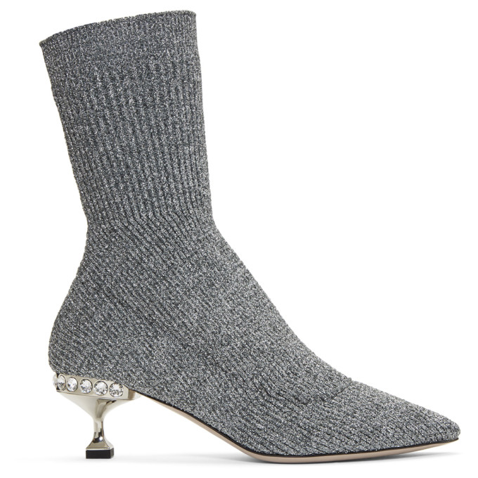 Miu Miu-Silver Glitter Sock Boots