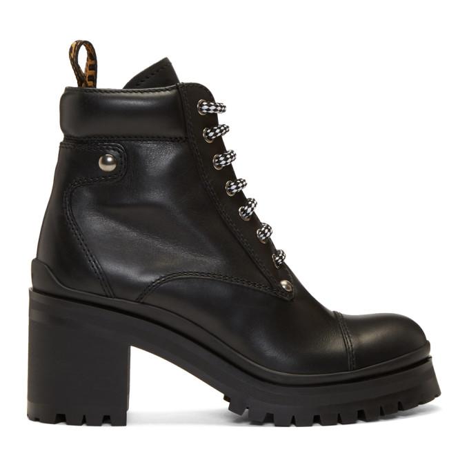 Miu Miu Black Chunky Heel Boots