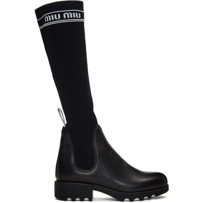 Miu Miu Black Sock Logo Boots