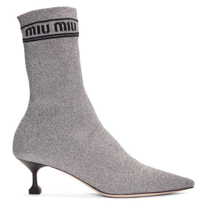Miu Miu Silver Lurex Sock Boots