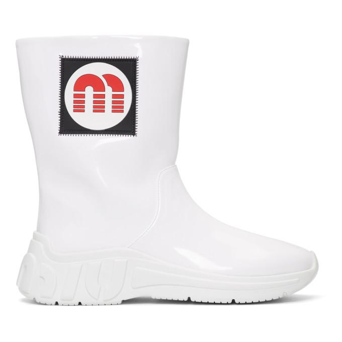 Miu MiuWhite Patent Logo Rain Boots