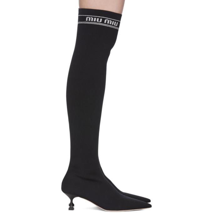 Miu Miu Black Over-The-Knee Sock Boots