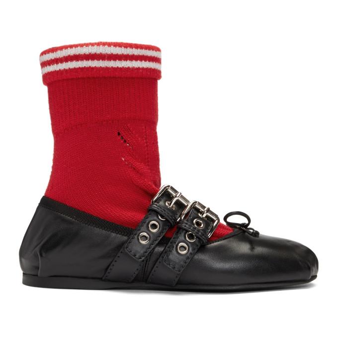 Miu Miu Black Red Sock Ballerina Flats