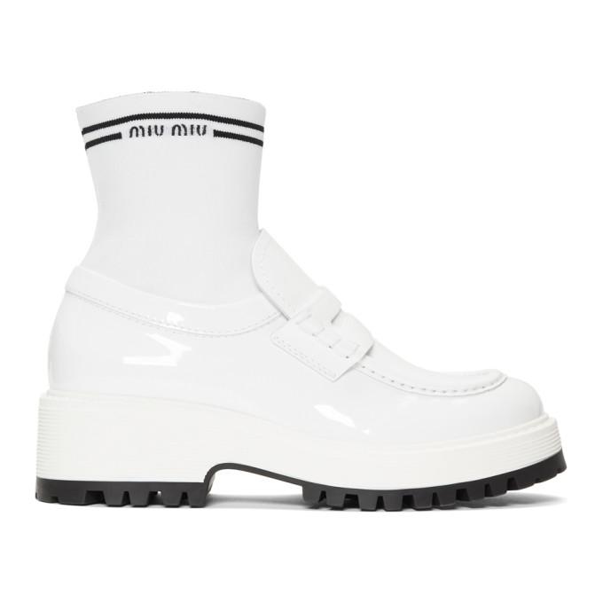 Miu MiuWhite Patent Sock Loafers