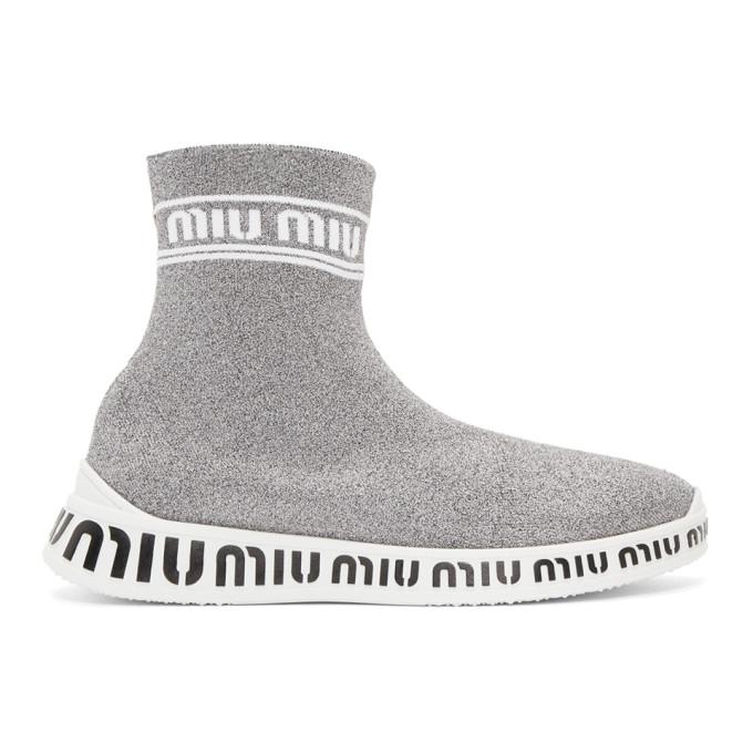 Miu MiuSilver Lurex Sock Sneakers