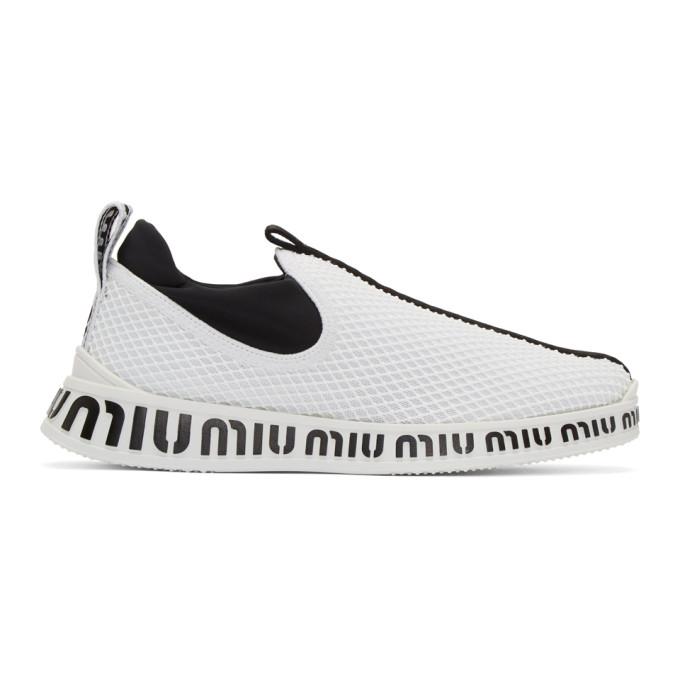Miu Miu White & Black Embossed Slip-On Sneakers