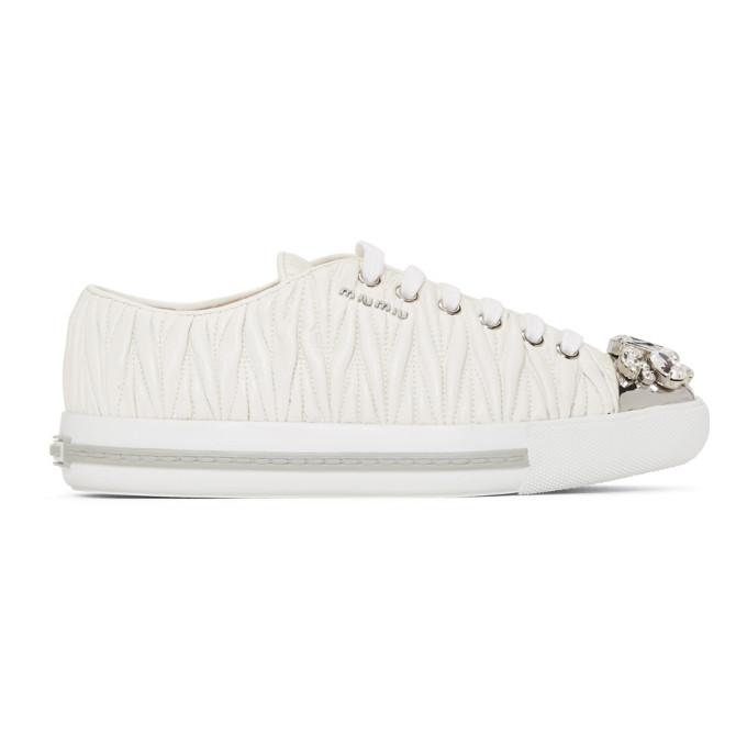 Miu Miu White Nappa Leather Maltesse Sneaker
