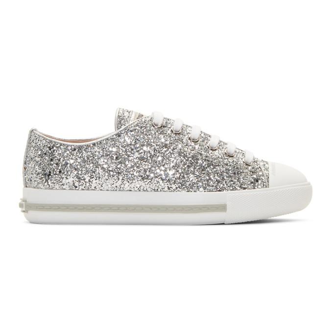 Miu MiuSilver Glitter Sneakers