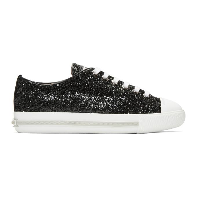 Miu Miu Black Glitter Sneakers