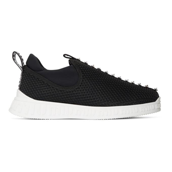 Image of Miu Miu Black Crystal Slip-On Sneakers