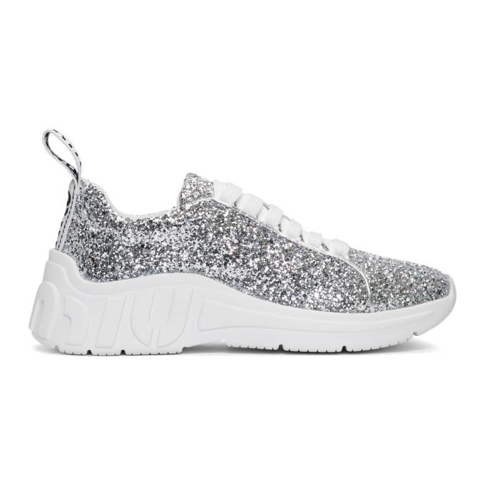 Miu MiuSilver Glitter Chunky Sneakers