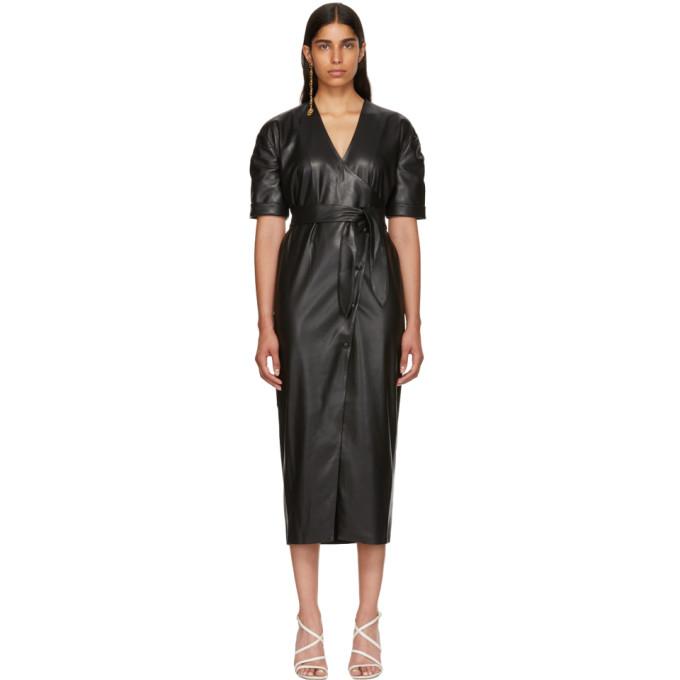 67a500502d Nanushka Black Vegan Leather Penelope Wrap Dress