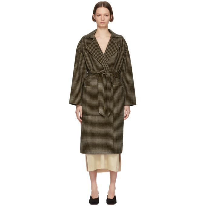 Nanushka Black And Tan Houndstooth Wool Alamo Coat