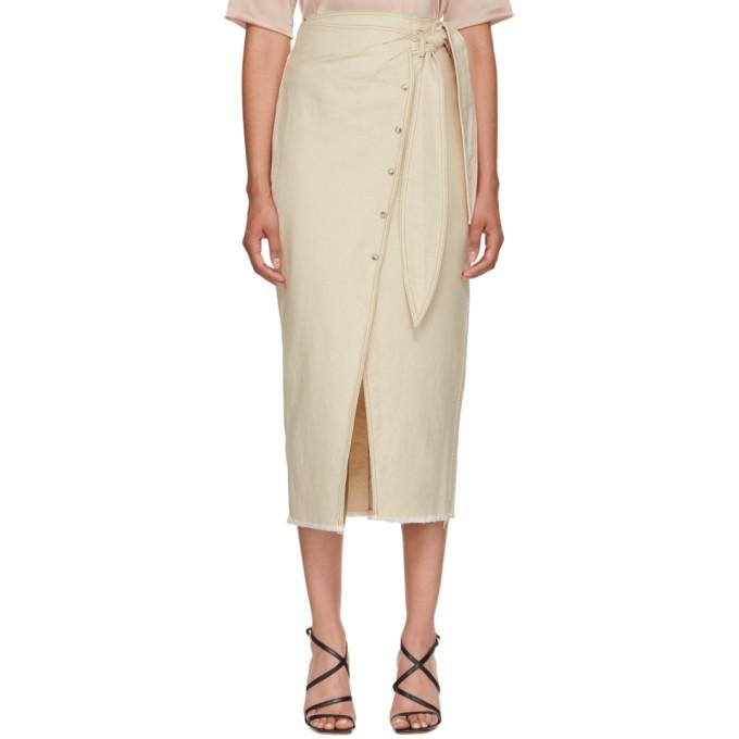 66d59bc36c Nanushka Beige Denim Opal Wrap Skirt