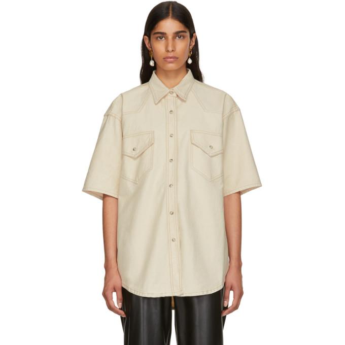 NANUSHKA Seymour Denim Shirt in Creme