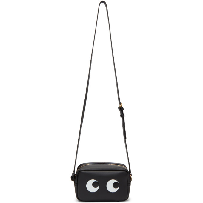 Image of Anya Hindmarch Black Mini Eyes Crossbody Bag