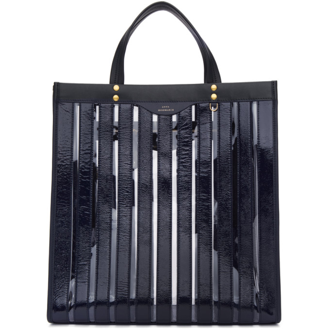 Image of Anya Hindmarch Navy Vinyl Multi Stripe Tote