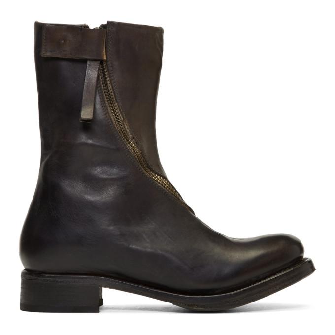 Cherevichkiotvichki Black Curved Zip Boots