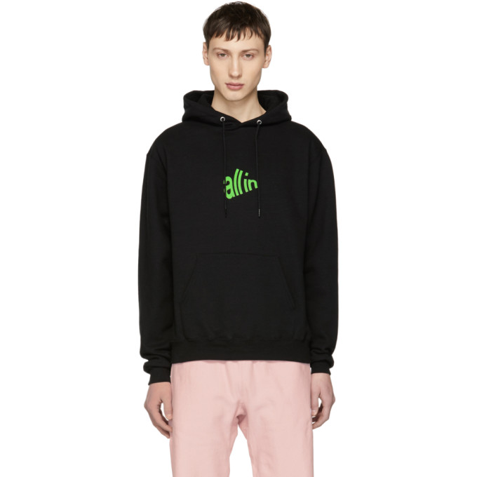 Image of all in SSENSE Exclusive Black & Green Signal Hoodie