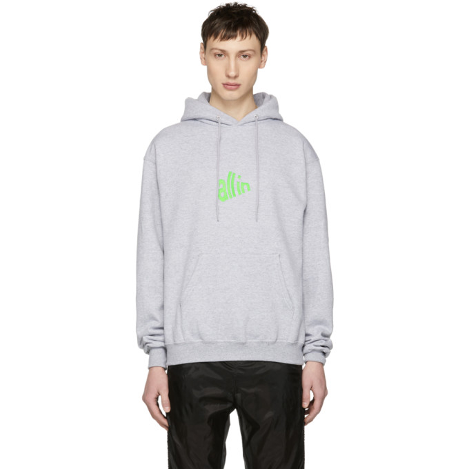 Image of all in SSENSE Exclusive Grey & Green Signal Hoodie