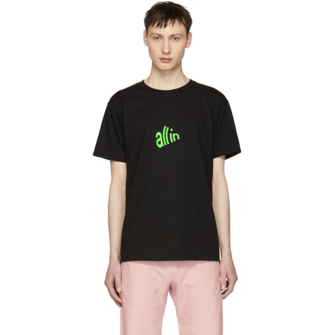 Image of all in SSENSE Exclusive Black & Green Signal T-Shirt