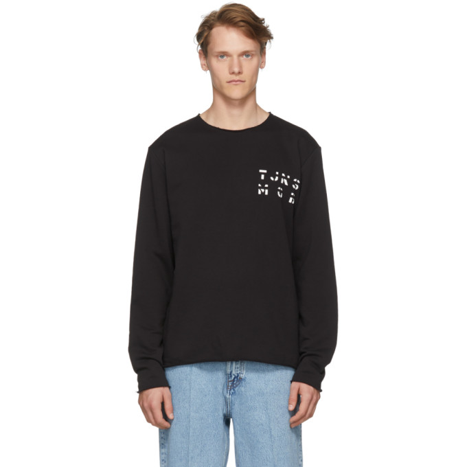 TIGER OF SWEDEN JEANS BLACK DESTROYED SWEATSHIRT