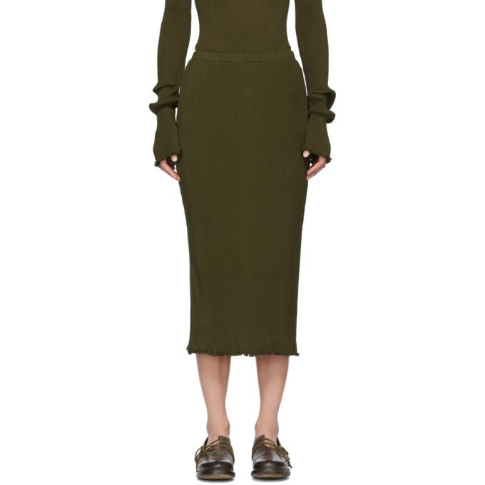 LAUREN MANOOGIAN Green Accordion Skirt in Olive