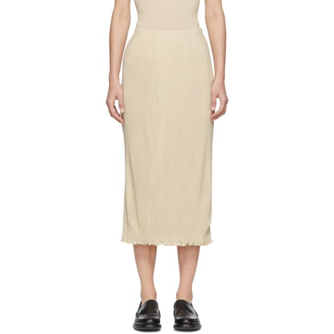 LAUREN MANOOGIAN Lauren Manoogian White Accordion Knit Skirt in Hessian