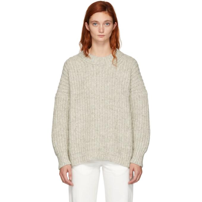 LAUREN MANOOGIAN Lauren Manoogian Grey Alpaca Fisherwoman Crewneck Sweater in Natural Gre