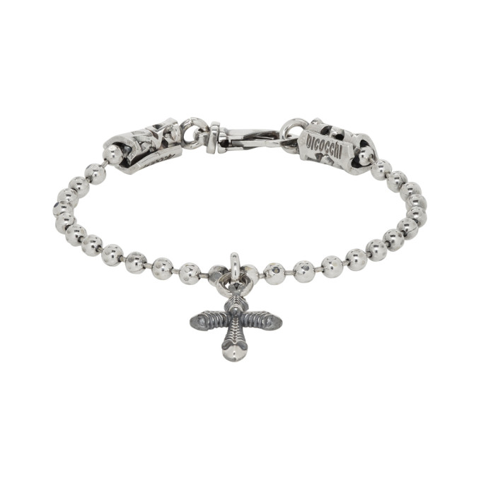 Image of Emanuele Bicocchi Silver Cross Disco Chain Bracelet