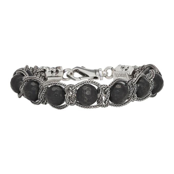 Image of Emanuele Bicocchi Silver & Black Beaded Bracelet