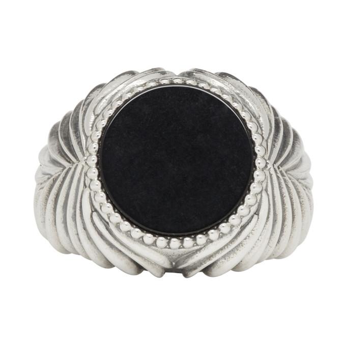 Image of Emanuele Bicocchi Silver & Black Stone Ring